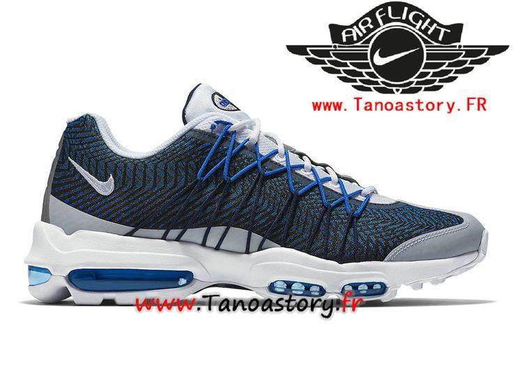 Chaussures Homme Nike Air Max 95 Ultra Jacquard Prix Pas Cher Bleu Blanc  749771-401