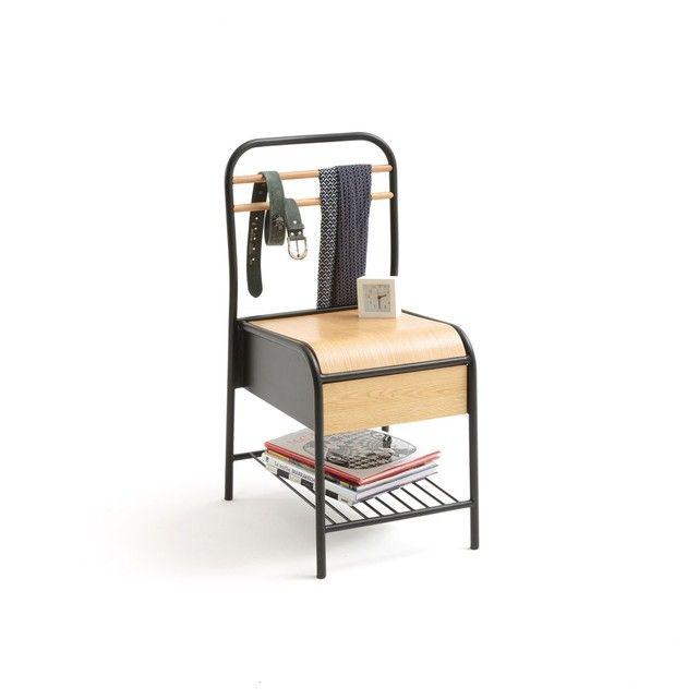 La chaise avec tiroir de rangement, Hiba. Astucieuse et élégante, la chaise Hiba cache très bien son jeu, elle vous assure un design indus parfait et des rangements malins : tiroir bien haut sous le plateau et étagère grille en dessous.