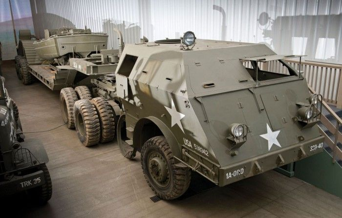 The 1943-1944 Pacific M26 Dragon Wagon - Designed by the Knuckey Truck Company of San Francisco, Pacific Car and Foundry of Renton, Washington, ended up building the six-wheel-drive, 48,890-pound tank recovery vehicle, powering it with a 240hp 1,040-cu.in. Hall-Scott Model 440 straight-six engine, four-speed transmission and three-speed transfer box. Twin 60,000-pound winches allowed it to pull disabled tanks onto its M15A1 trailer, rated for 45 tons.