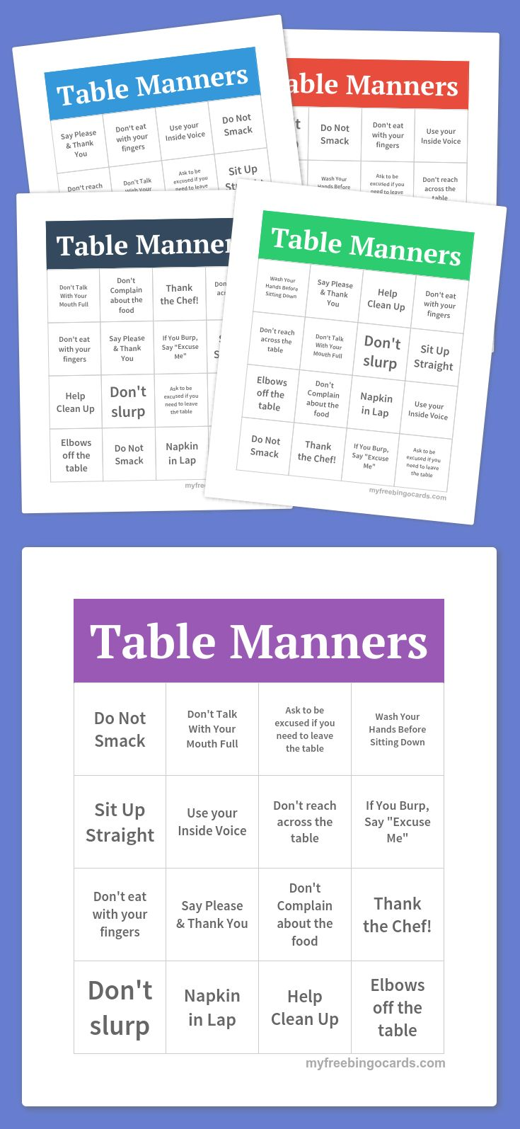 Table manners bingo girl scouts pinterest table for Table etiquette