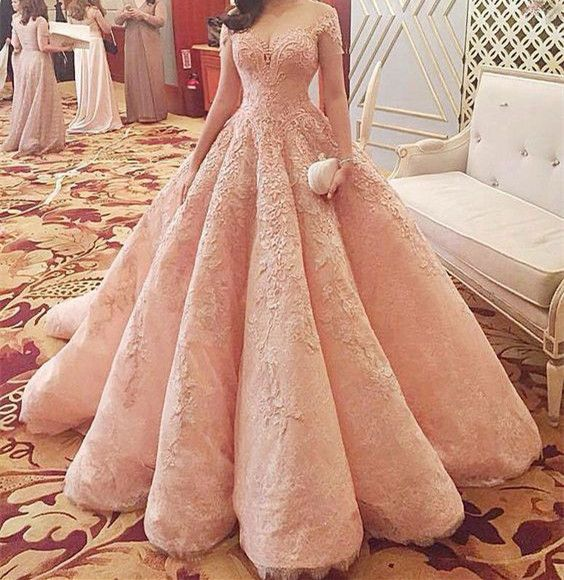 Modest Quinceanera Dress,Pink Ball Gown,Applique Prom Dress,Fashion Prom