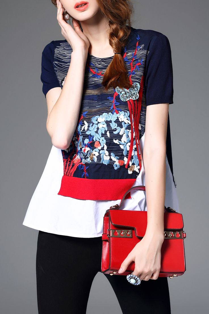 sequin embroidered T-shirt