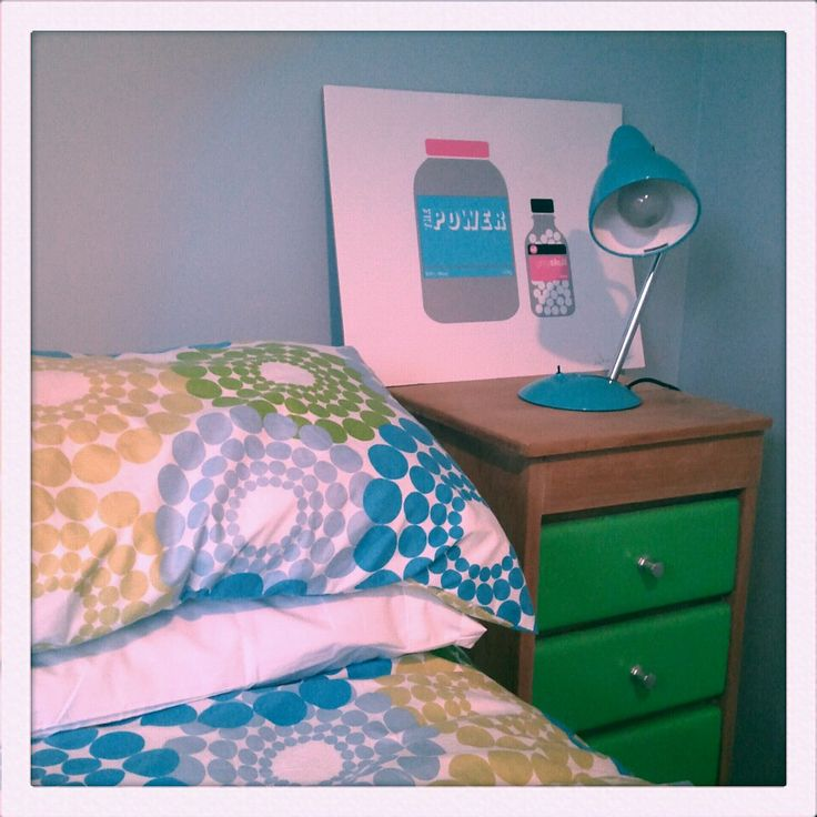 Our spare room with upcycled bedside table.
