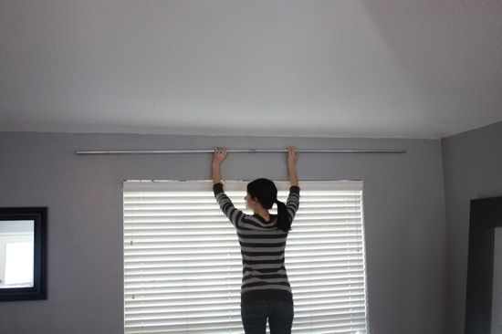 DIY curtain rod with metal conduit pipe