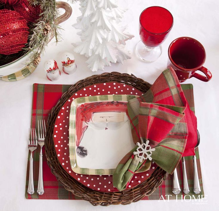 Cheery red and white Santa tablescape place setting.