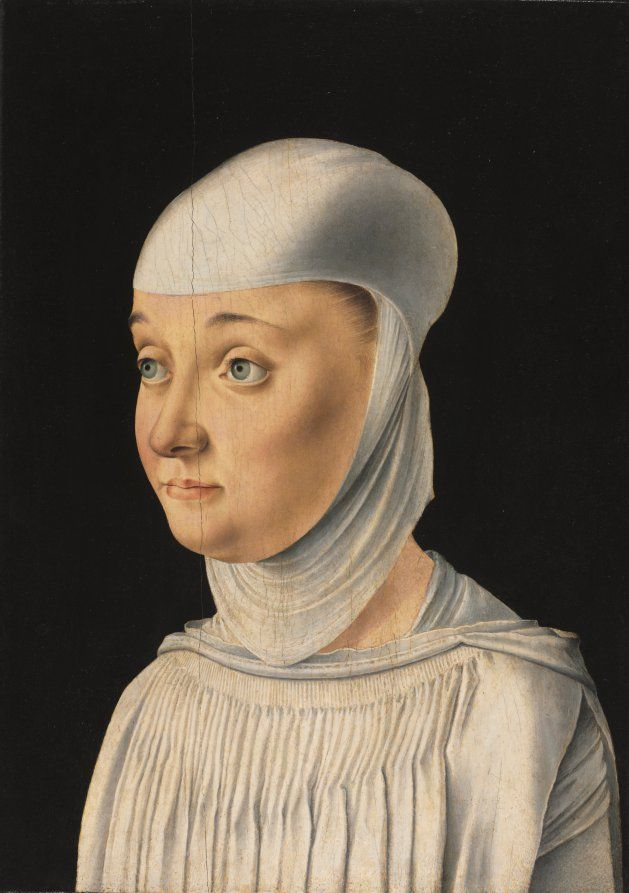 Portrait of a Woman, Possibly a Novice of San Secondo, c. 1490.  Jacometto Veneziano.  This attire, particularly the head garb, may be secular, while some scholars consider it to be Benedictine or Dominican. The San Secondo convent was reserved for daughters of the wealthiest Venetians and conventions of dress were fairly loose until 1515 when strict reforms were enforced by religious and political authorities in Venice.