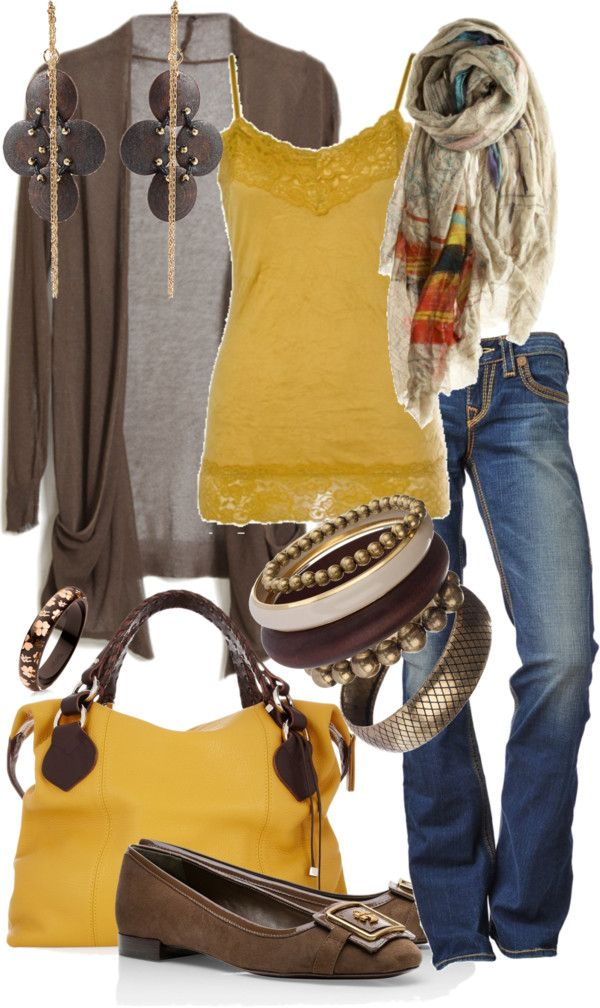 Pretty yellow and brown outfit. I don't like the shoes.