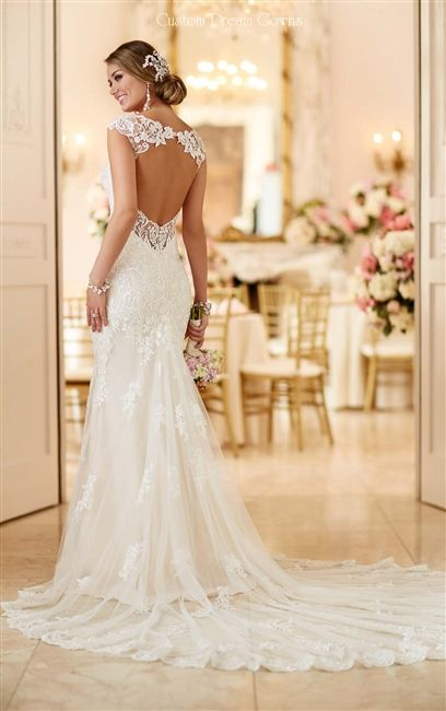 2016 Keyhole Low Back Wedding Dress! Lace on Tulle Over Satin Sheath Gown with…