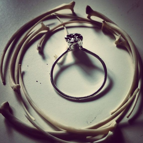 """""""La Petite Mort"""" oxidized silver skull ring by MoonSerpentJewelry"""