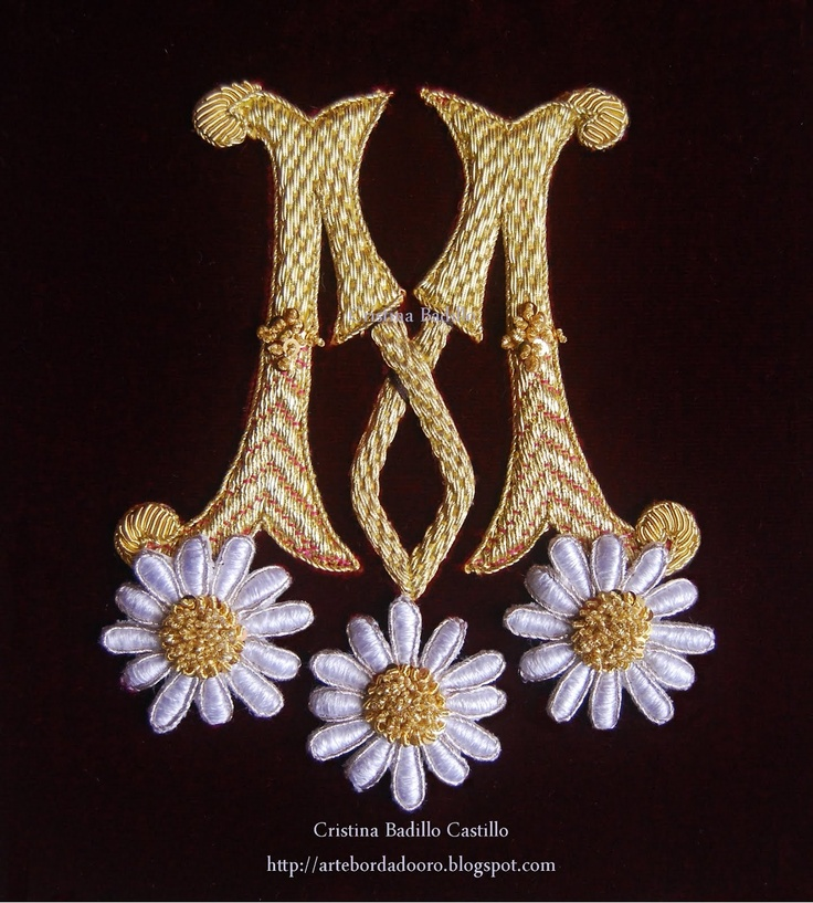 "Oh my! a beautiful ""M"" and my favorite flower....daisies! :-) ~ML Goldwork Embroidery - M monogram"