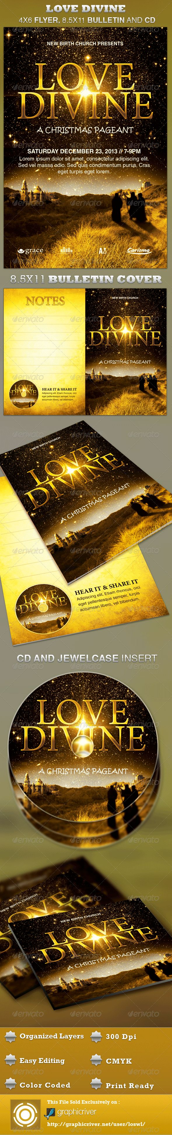 The Love Divine Flyer, Bulletin and CD Template is great for any Church Event. Use it for Christmas Sermons, Pageants and Musicals. The layered Photoshop files are color coded and organized in folders for easy editing. The file also contains 6 – One Click Color options.