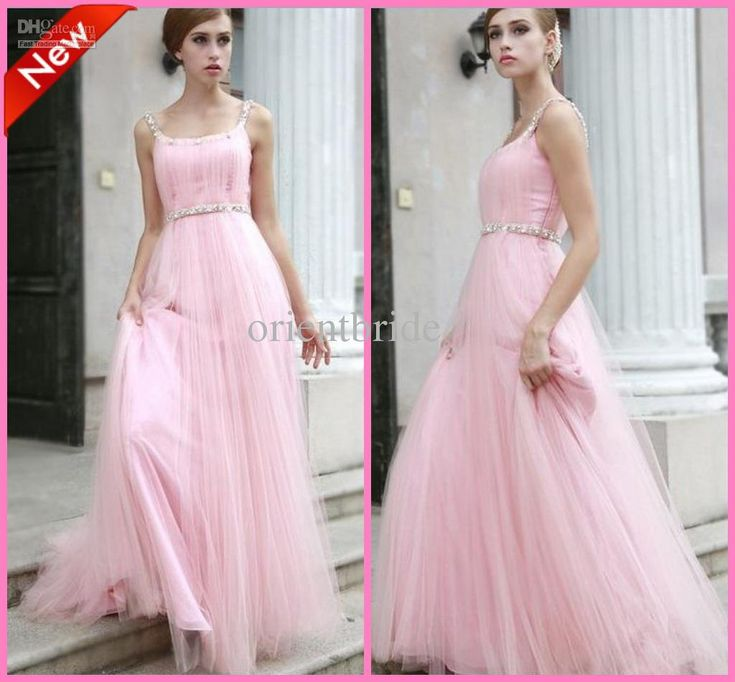 Wholesale Pink High Quality Tank Beaded Empire Waist Tulle Skirt Long Bridesmaid Dresses Wedding Guest Gowns, Free shipping, $112.0-128.8/Piece | DHgate