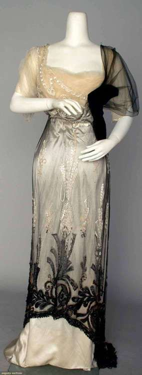 2-Piece Empire Evening Dress Made Of Black Silk Net Over Ivory Silk Satin With A Black Velvet Sash And Bow, All Beaded With White And Jet Beads, By Mme Jeanne Paquin, House Of Paquin - Paris, France  Winter Of 1911 Augusta Auctions