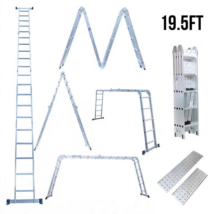 Idealchoiceproduct Heavy Duty Gaint Aluminum Multi Purpose Folding Ladder Scaffold Ladders with 2 Free Platform Plates- 19.5ft/330Lbs