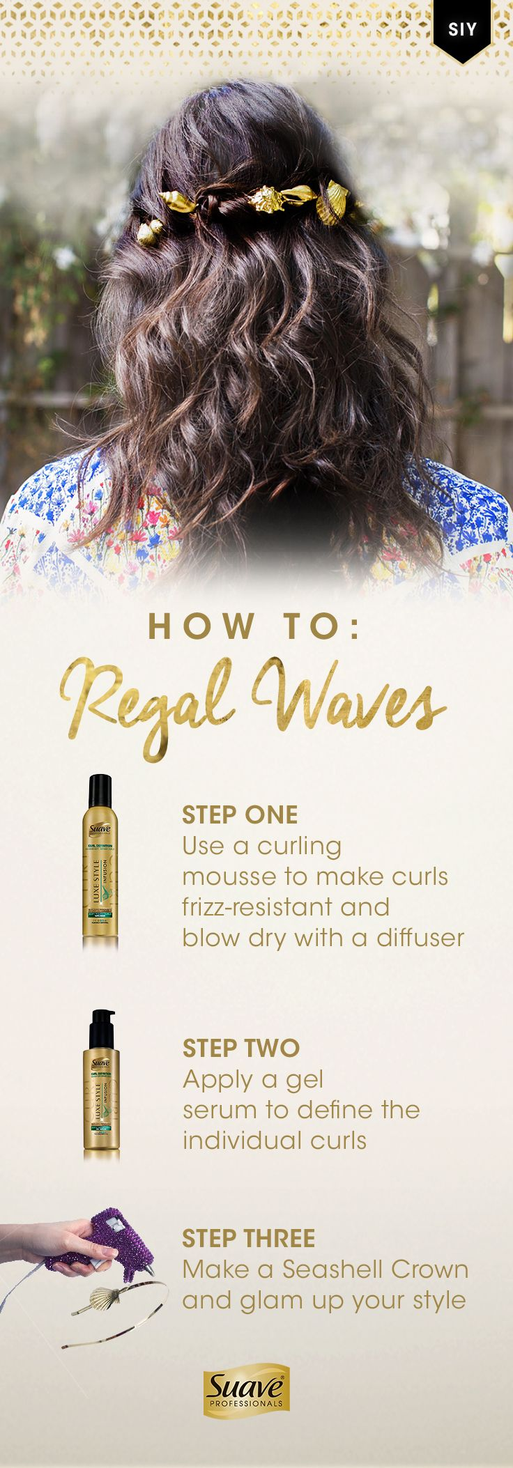 Pair mermaid-inspired waves with an elegant DIY Seashell Crown like @psimadethis. Step 1: Apply Suave Professionals Luxe Style Infusion Curl Defining Soft Touch Curls Mousse and blow dry with a diffuser for soft curls. Step 2: Use Suave Professionals Luxe Style Infusion Curl Defining Gel Serum to keep curls defined. Step 3: Tease the hair on the crown of your head, put on the seashell headband and secure it with bobby pins. Click-through to learn how to make your own the Seashell Crown…