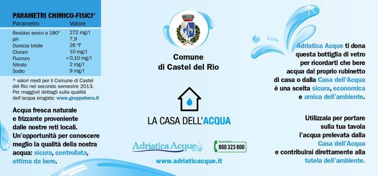Etichetta Bottiglia in Vetro, in omaggio al momento dell'evento inaugurale. #valori #acqua #adriaticacque #inaugurazione #casteldelrio