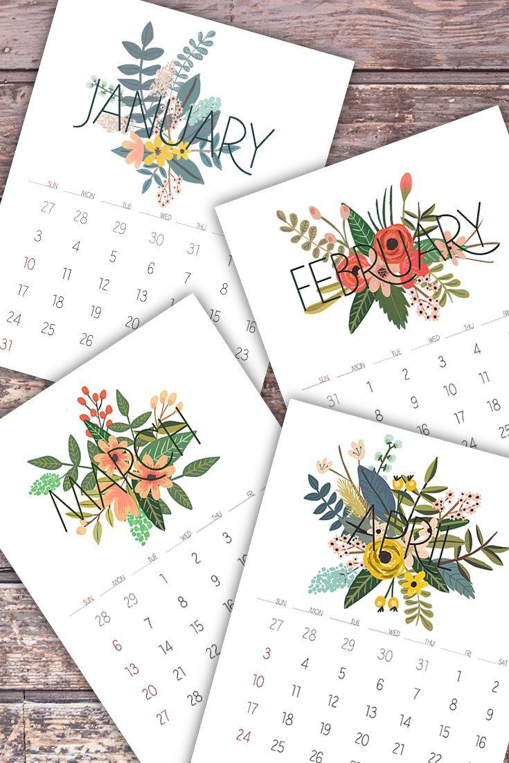 Floral Monthly Calendar, Monthly Calendar Printable, 2016 Printable Calendar…