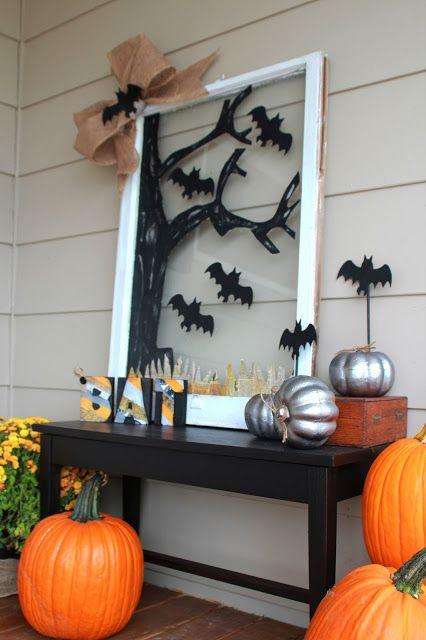 Halloween bat window