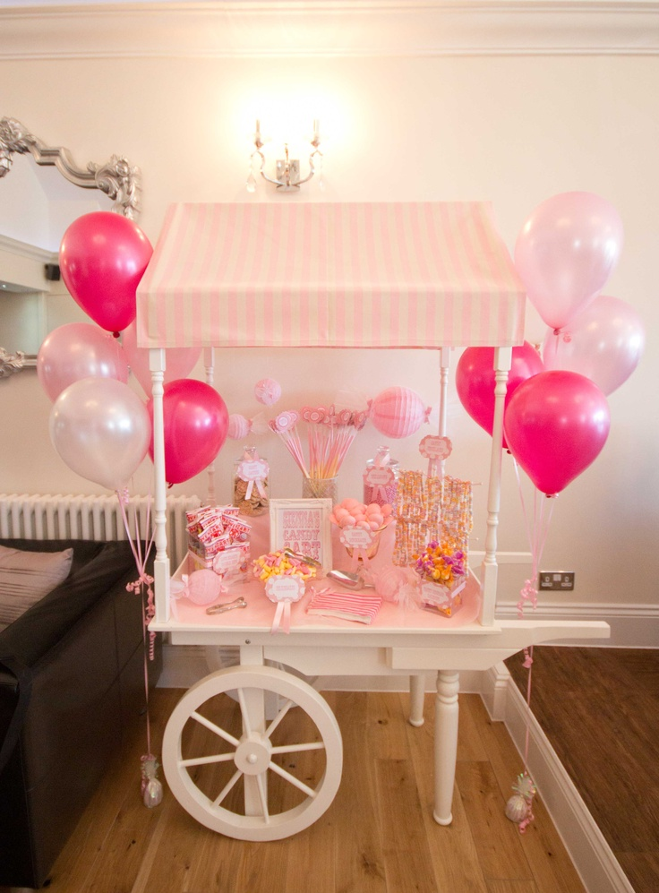 Pretty pink candy cart www.sweetcarolinevintage.co.uk