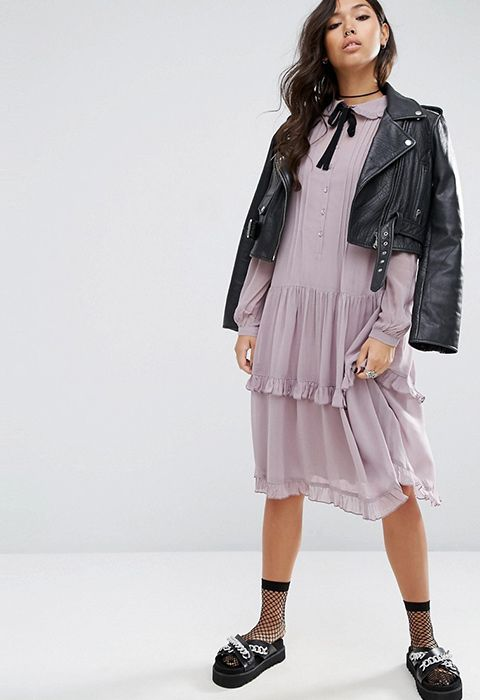 A dainty little ruffle shirt dress for major Prairie Girl trend feels. Extra vintagey points for the so-Gucci necktie detail