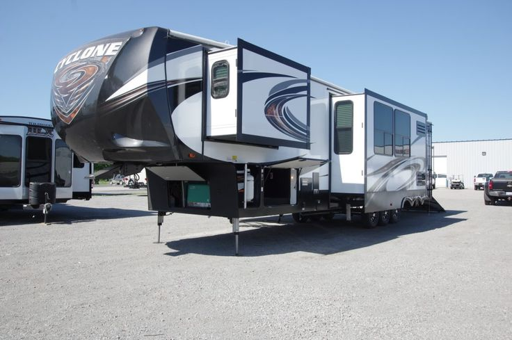 MUST-SEE TOY HAULER!!!  2017 Heartland Cyclone 4200 Enjoy the great outdoors from the comfort of your patio deck with this 44' long, 15,725 lb. rig! Exterior speakers and a stereo system let you enjoy your favorite songs as you relax in the sunshine. With 2 interior TVs, everyone can watch what they enjoy! Leveling is easy with 6 pt. hydraulic jacks. Give our Cyclone expert John Sobczak a call 231-903-6220 for pricing and more information.