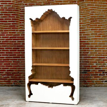 InsideOut Bookcase White // Provocative design absurdity... Whimsical Harry Potter meets minimalist modern...