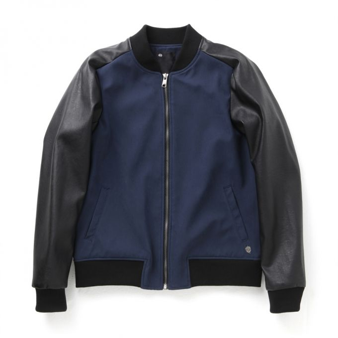 Leather sleeve varsity jacket  (High quality of soft fabrics used) Regular fit, waist length Zip closure  2 welt pockets in front Ribbing at collar, hem and cuffs  Blue color