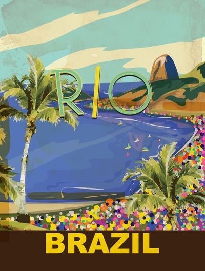 Rio Vintage Travel Poster  by Nicholas Green