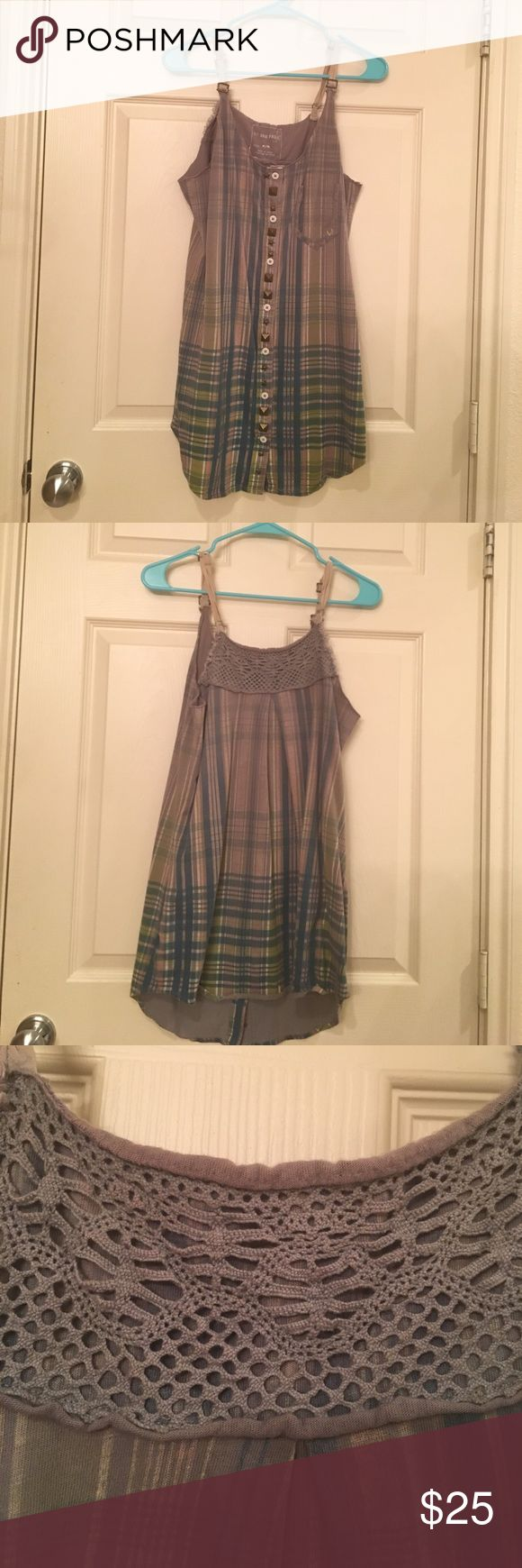 Plaid We The Free tunic Long and soft plaid tank, we the free is great for summer. Fun raw edge at the top, cute buttons. Free People Tops Tunics
