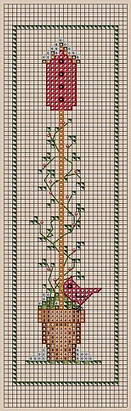 Cross-stitch January Birdhouse... no color chart available, just use pattern chart as your color guide.. or choose your own colors...