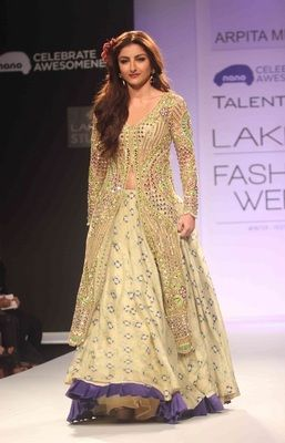 Soha ali khan in beautiful cream designer printed lehenga with heavy top
