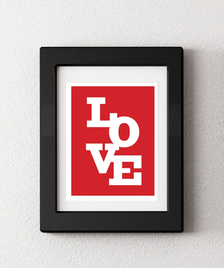 LOVE Typography Print Wedding Or Anniversary Print