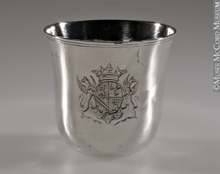 Cup 1725-1756, 18th century Metal: silver 6 x 6 cm This cup was made at the beginning of the 18th century in France, or, more specifically, in Montpellier. It belonged to Louis Joseph Marquis de Montcalm (1712-1759) during his time in Quebec, as is indicated by the coat of arms that it bears.