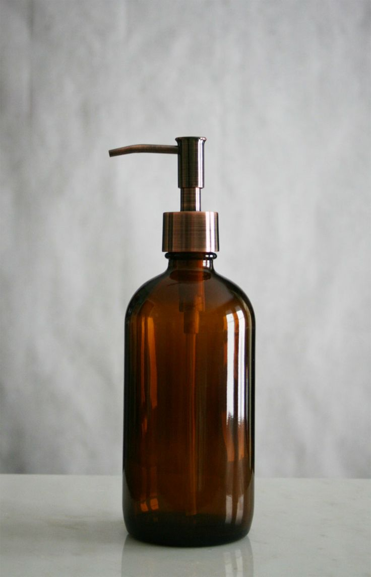 Amber market glass apothecary style soap dispenser soaps for Brown glass bathroom accessories