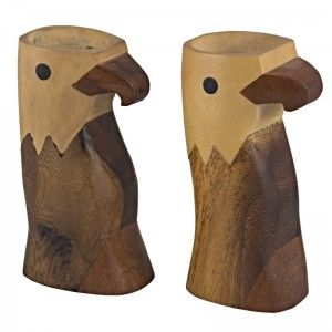 Wooden eagles - candle holders