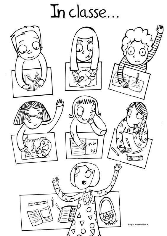 Bimbi, tutti in classe: ricomincia la scuola! Ecco un disegno da colorare che rappresenta tutta la nostra classe di amici e compagni.: