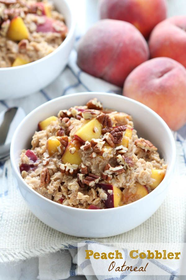 Peach cobbler oatmeal - an easy and delicious breakfast ready in less than 10 minutes! Fresh peaches, cinnamon, nutmeg and brown sugar create an oatmeal that the entire family will love!