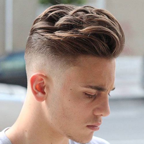 High Fade with Textured Long Comb Over