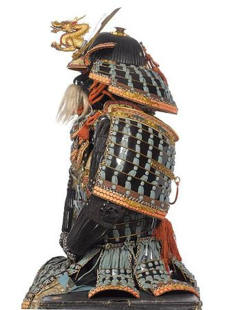 Mogami do Tosei gusoku armor, Edo Period, 18th to 19th century; helmet signed Myochin ... Naga, late Muromachi-Momoyama Period early, 16th century. Photo Bonhams