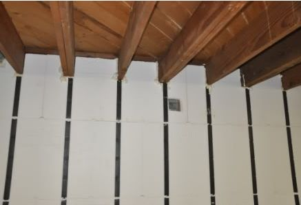 the cuts in the panel to join into the ceiling beams the foam panels