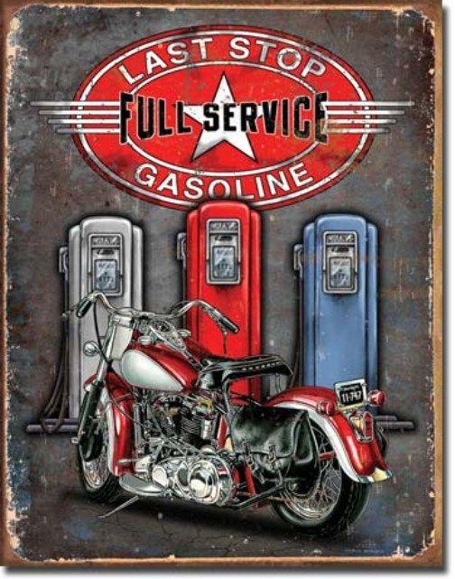 Motorcycle Man Cave Signs : Last stop gasoline motorcycle man cave bar tin sign