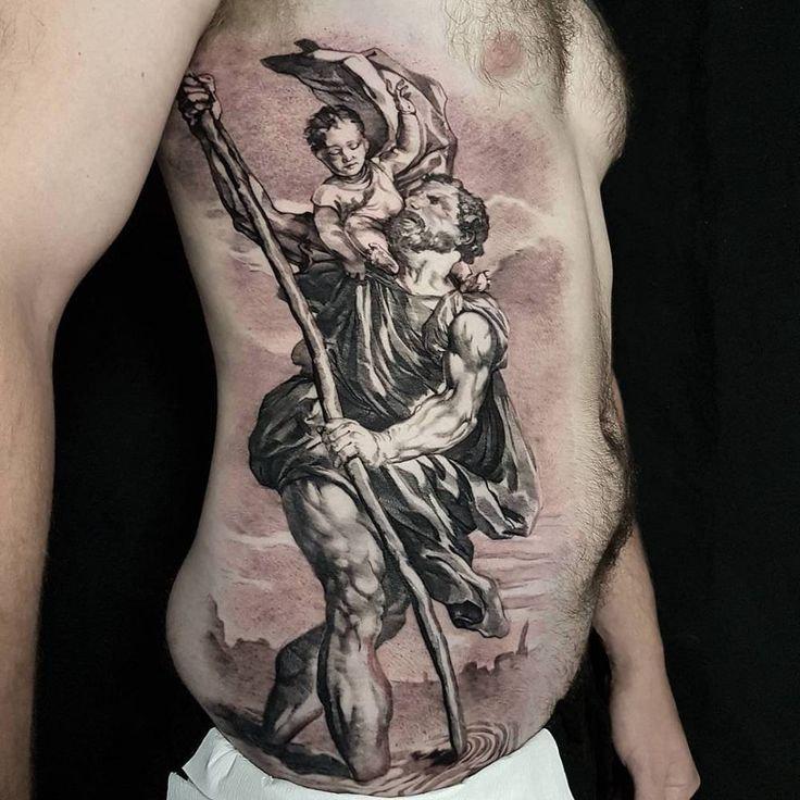 Tiziano's St. Christopher inspired tattoo. Artista Tatuador: Nick Noonan