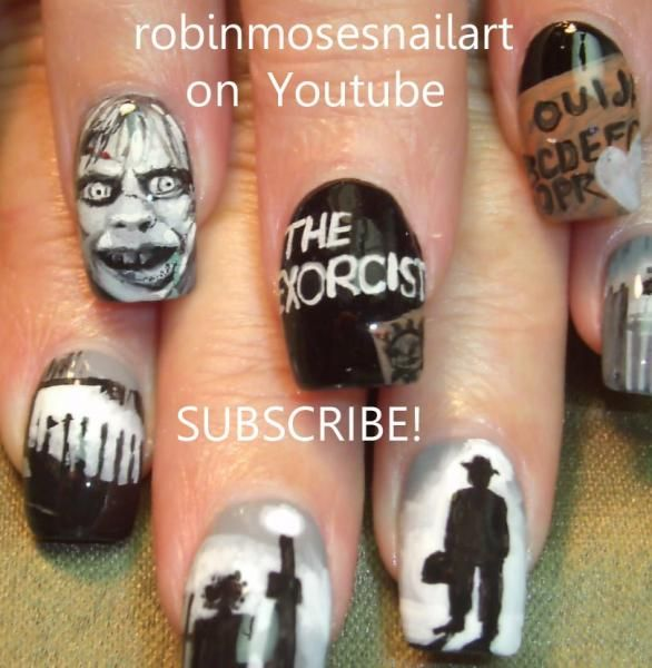 The Exorcist Nails by Robin Moses, Nail Art, Horror, Halloween, Movie, Cool Nail Designs, Scary, Nail It! Magazine