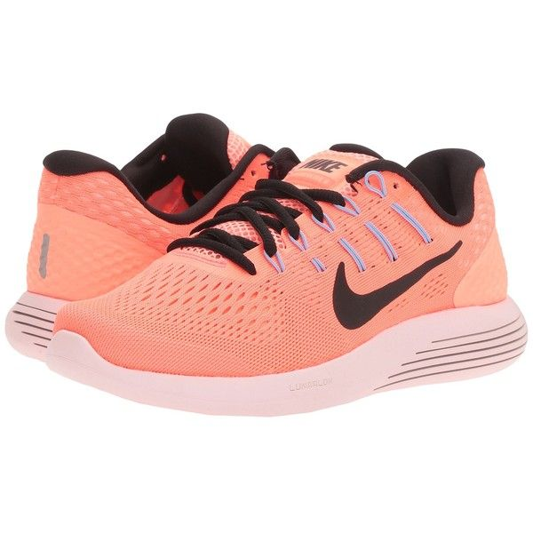 Nike Lunarglide 8 (Hot Punch/Black/Lava Glow/Aluminum) Women's Running... ($120) ❤ liked on Polyvore featuring shoes and athletic shoes
