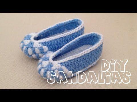 Cómo tejer zapatitos sandalias para bebé en crochet - YouTube