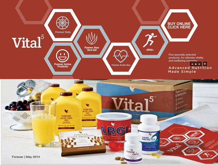 Advanced nutrition made simple: Forever's Vital5 pack incorporates five specially-selected products, for ultimate vitality, every day. The Vital5 provides a solid foundation of advanced nutrition, serving as the building blocks of any customized nutritional program. Integrate it into your daily routine for that feeling of optimal well-being. For more information email caroline@naturalsuccess.co.uk