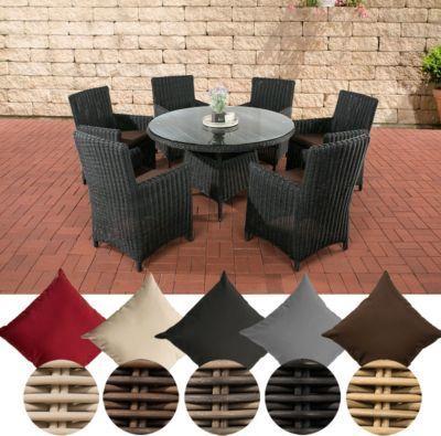 Poly Rattan Sitzgruppe LARINO (6 Sessel + Tisch Rund Ø 130 Cm),