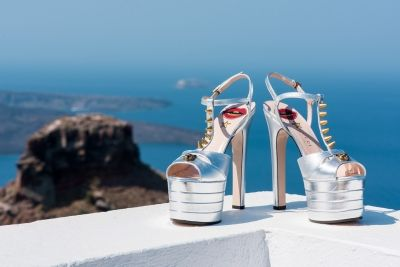 Wedding Shoes from Luxurious Lebanese wedding at Santorini Gem in ivory and rose gold