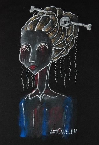 Koszulka Dziewczęca z ręcznie malowanym motywem - długi rękaw,  rozm 38