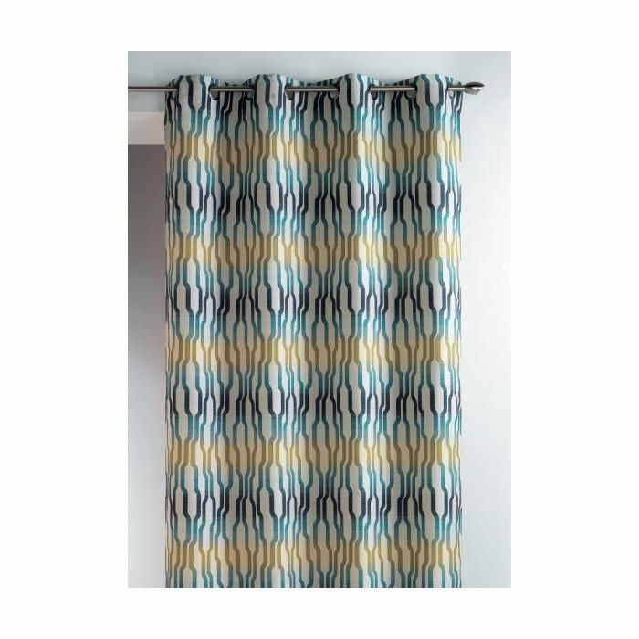 rideaux bleu canard frais double rideau